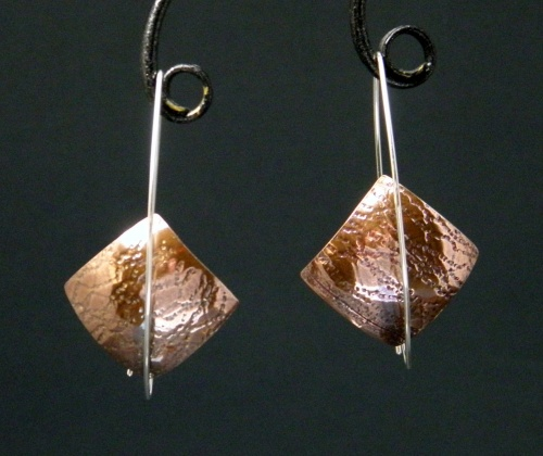 Copper and sterling Raindrop Earrings