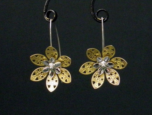 Bronze and sterling flower earrings